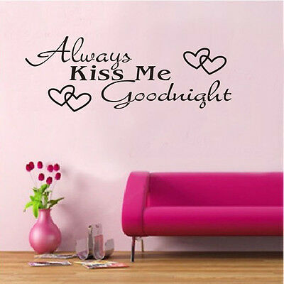 Always Kiss Me Goodnight Vinyl Wall Art Decals Window Sticker Home Decor Sayings