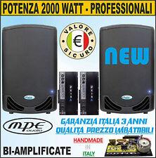 COPPIA CASSE BIAMPLIFICATE ATTIVE AMPLIFICATE 2000 WATT DJ DISCOTECA MPE AUDIO