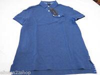 Mens Tommy Hilfiger Polo shirt S slim fit pocket solid 7845162 Kings Blue 404