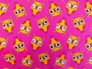 Stoff Baumwolle Kinderstoff Eulen Eule pink orange Meterware 0,30lfm