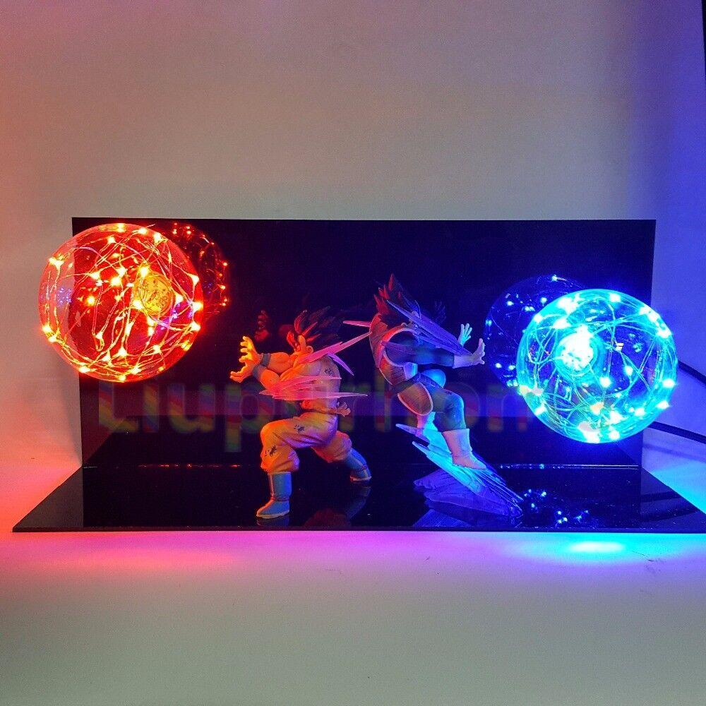 Garantía 100% de ajuste Raras Dragon Ball Z VEGETA VEGETA VEGETA & Goku Encienda LED Luz Lámpara Figura de acción conjunto entero  venta mundialmente famosa en línea