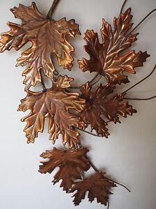 "Vtg MCM Bronzed Brass Autumn Leaves Wall Art Sculpture 3 Way 22"" Jere Eames Era"