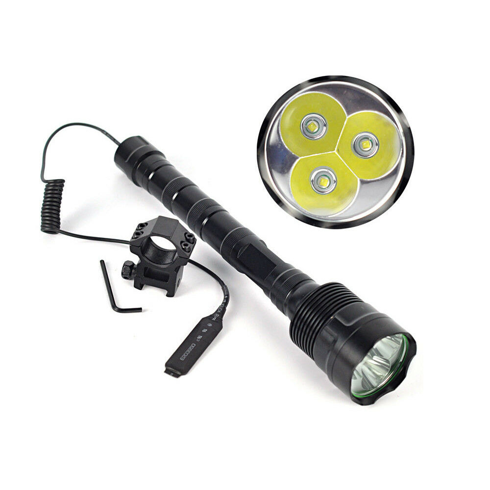 Super Bright Tactical LED Flashlight Lamp Torch+Pressure Switch+Mount Gun 6000LM