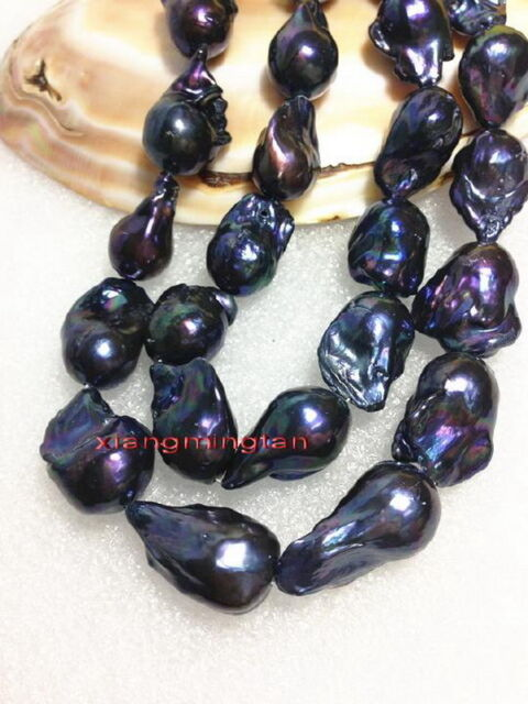 "AAAAA LONG NATURAL 35"" 30mm south sea baroque Blue green black pearl necklace"