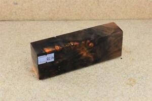 Stabilized-Buckeye-Burl-Orange-Knife-Block-Scales-Pen-Blank-214