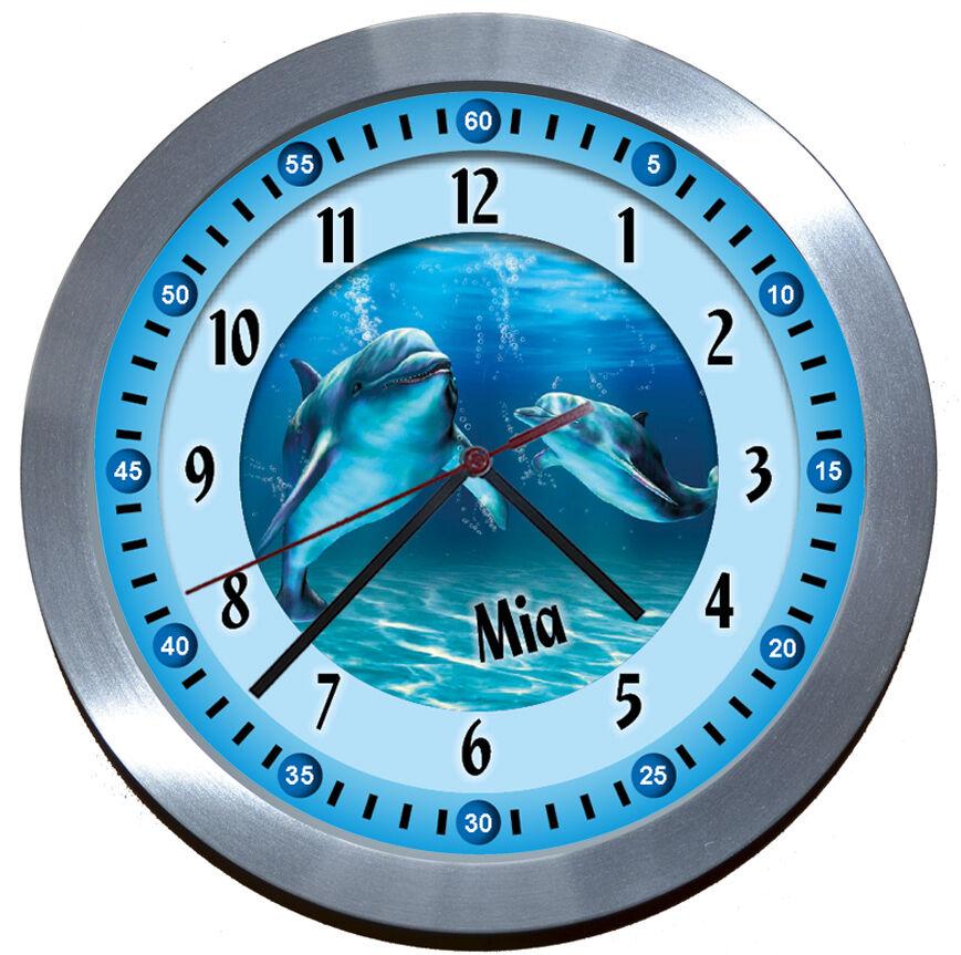 Lautlos ALU-FUNK ALU-FUNK ALU-FUNK LERNUHR Delfine Geburtstag-süß KinderWanduhr Retro OSTERN c1a78d