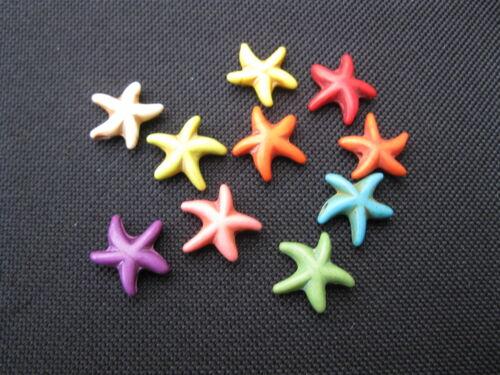 10 abalorios plástico estrella de mar steinartig multicolor 13x13mm 11290