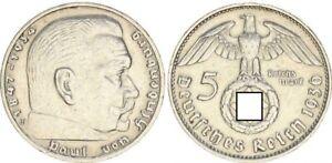 3. Rich 5 Mark Hindenburg 1936 J VF+ 48792