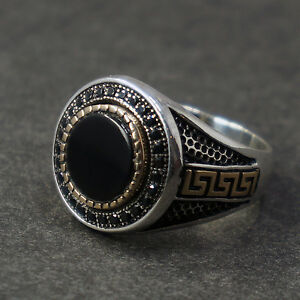 Onyx and 925 Sterling Silver Ring