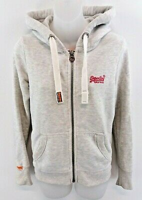 Ernst Superdry Womens Hoodie Jacket Xs Grey Cotton & Polyester