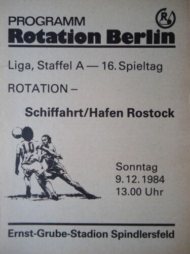 Programm 1984//85 Rotation Berlin SH Rostock