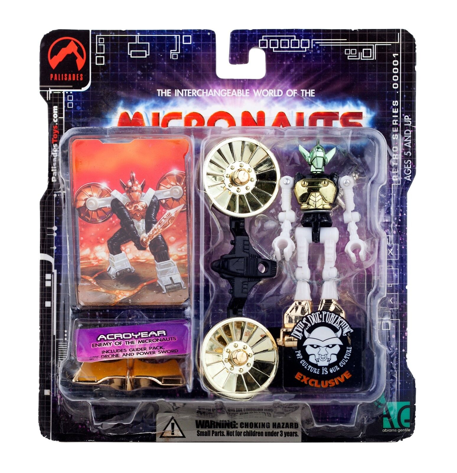 NEW PALISADES 2002 Retro MICRONAUTS ACROYEAR ACTION FIGURE Devils Due Exclusive
