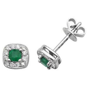 9ct White Gold Cushion Shaped Emerald and Diamond Studs