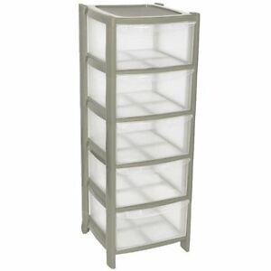 Image Is Loading 5 Plastic Storage Drawers Large Towers Chest Unit