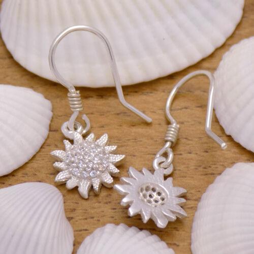 Stunning Solid 925 Sterling Silver Shining Sun Flower Dangle White CZ Earrings