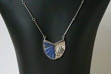 Danish silver pendant made by N.E.From with carved Lapis