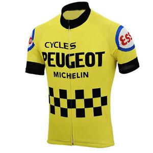 Mens Team Retro 1976 Peugeot Cycling Jerseys Short Sleeve