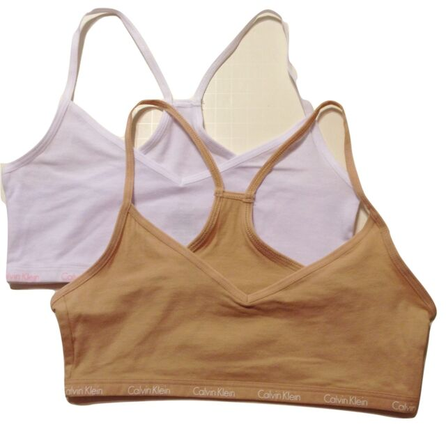 6932140fd9f7d Girls Calvin Klein Crop Bras Size 8 to 10 Beige and White 2 Pack for ...