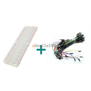830-Tie-Points-Solderless-PCB-Breadboard-MB102-65Pcs-Jumper-cable-wires-Arduino