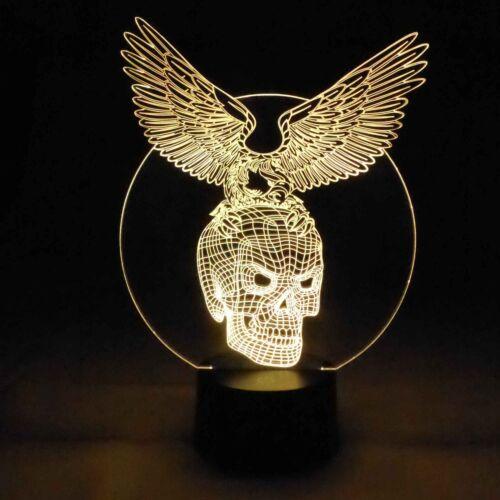 originelle 3D LED-Lampe Totenkopf mit Adler als Tischlampe RGB Nachttischlampe