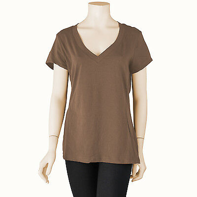 Womens Basic Plus Size Fitted V Neck Short Sleeve T Shirt Casual Solid 1X 2X 3X