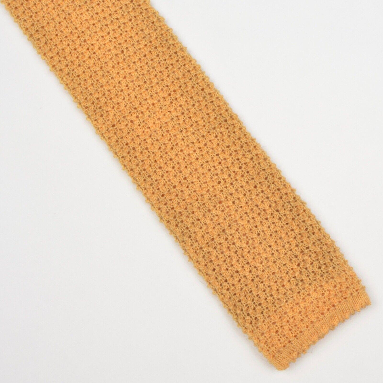 100% Wolle Wool Gestrickte Krawatte Knit Tie Gelb Yellow HERBST Made in Italy