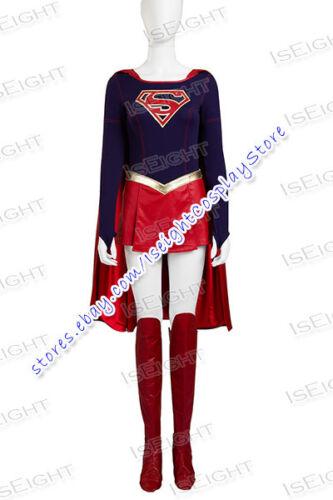 Superhero Cosplay Girl Kara Zor El Costume Jumpsuit Cape Halloween Uniform