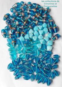 Copieux Perles Olives Millefiori Pate De Verre Opaque Et Translicide Lot Turquoise *