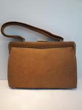 Blok van Heyst Vintage Frame Handbag Tan Brown Genuine Leather with mirror