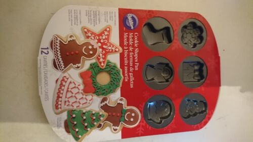 Wilton Christmas Cookie Shapes Pan Mould Nonstick Tray Festive gingerbread man