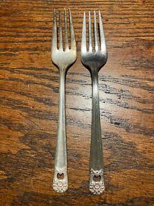 1847 Rogers Bros Silver Plate 2 Salat Gabeln Lot ewig dir Vintage 1941