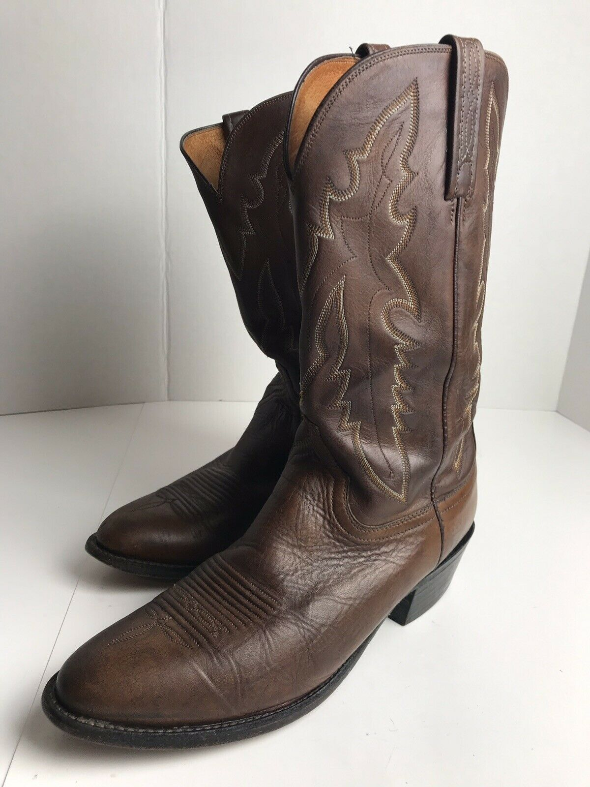 LUCCHESE 1883 Brown Leather Western Riding Cowboy Boots Men's Size 10 EE EUC