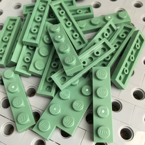 Lego New Lot Of 25 Sand Green 1x4 Base Plate Tiles 1 X 4 Bricks Plates