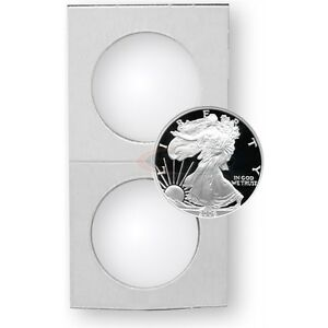 25 Cardboard 2.5x2.5 Coin Holder Mylar Flips for Silver Eagles and Crowns