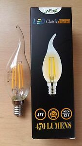 10 Candle Light Bulbs 40W Clear Small Screw Cap Fitting Edison Bulb E14 Bent Tip