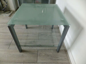 Modern Living Room Frosted Glass Coffee Table With Shelf Metal