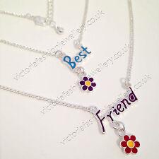 2x Friendship Necklace Set Best Friends Silver Daisy Flower Girls Ladies BFF