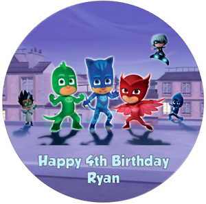 Personalised-19cm-PJ-Masks-Edible-Wafer-Paper-Cake-Topper