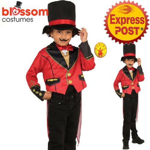CK1169 Ringmaster Child Costume Circus Showman Lion Tamer Top Tails Pants Hat