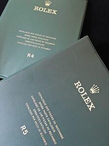 Rare-vintage-Rolex-watch-parts-catalog-Swiss-2-book-dealers-set-mint-condition