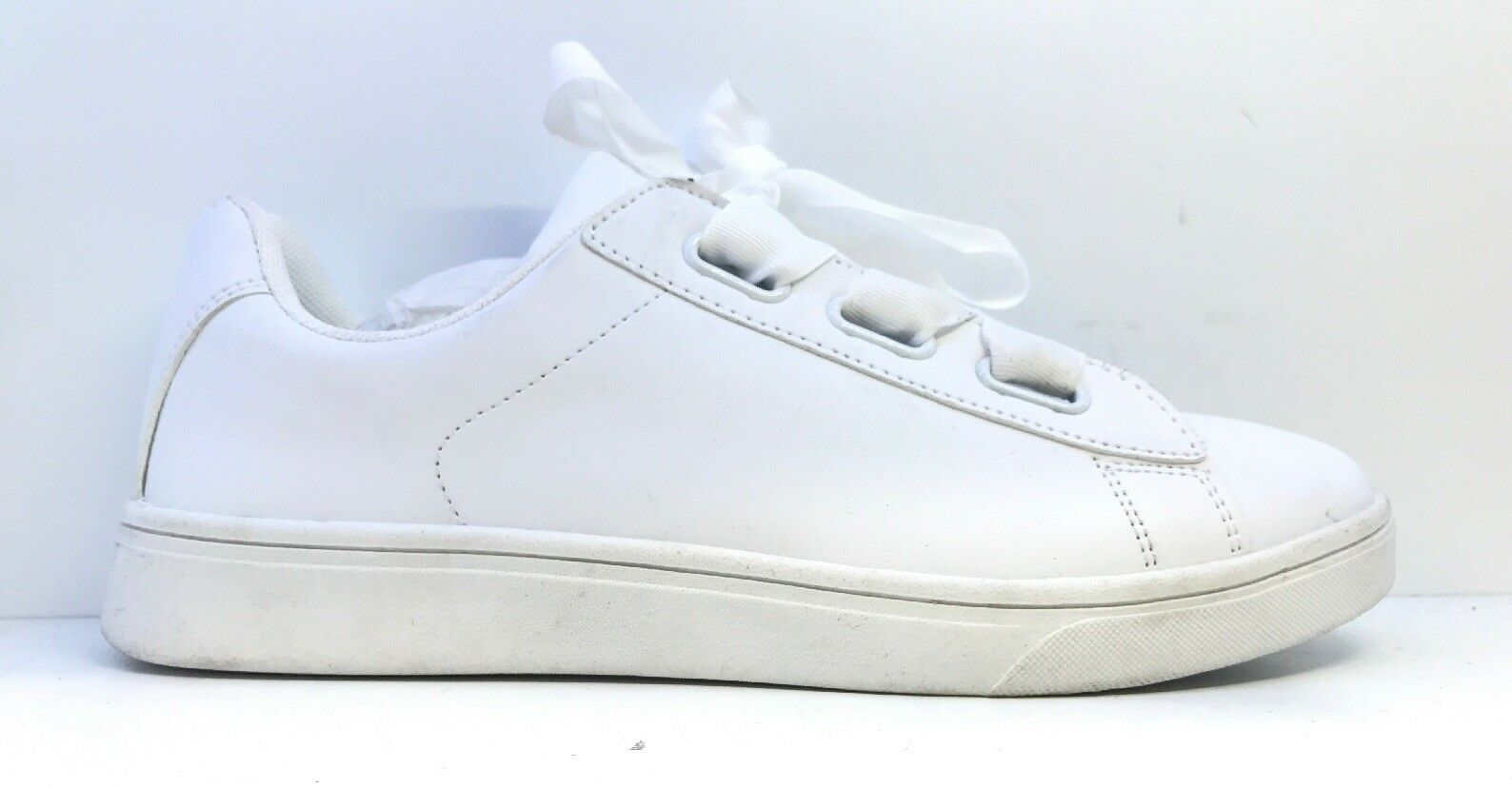 Simply Be Womens White Lace Up Trainers Size 7 Wide