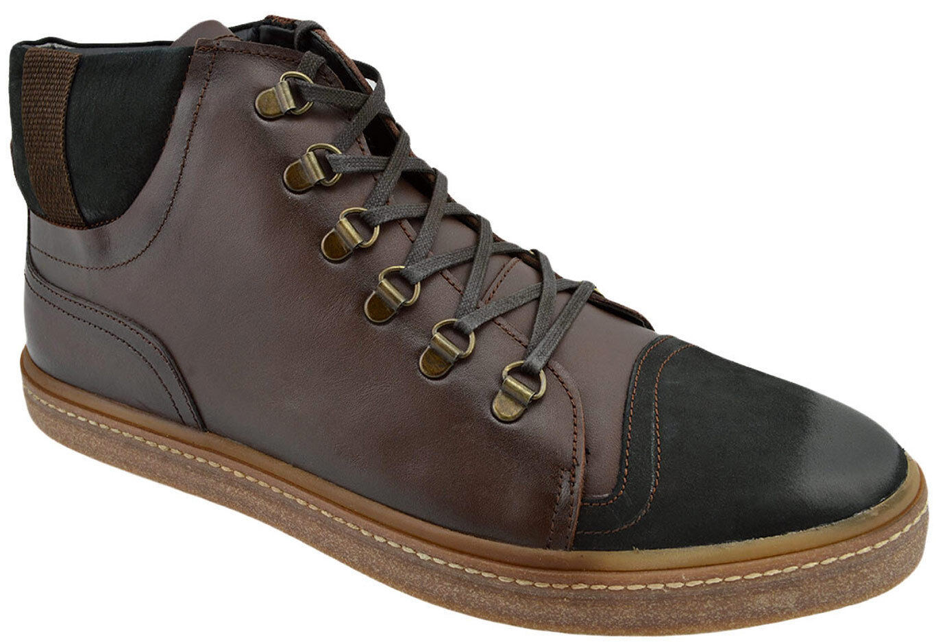 230 OVATTO Brown Black Leather Ankle Boots Sneakers Men shoes NEW COLLECTION