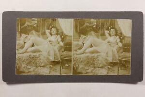 Donna Sensuale Artistico Foto Stereo Vintage Citrato c1900