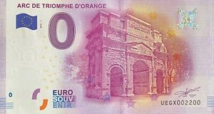 BILLET-0-EURO-ARC-DE-TRIOMPHE-D-039-ORANGE-FRANCE-2016-NUMERO-2200