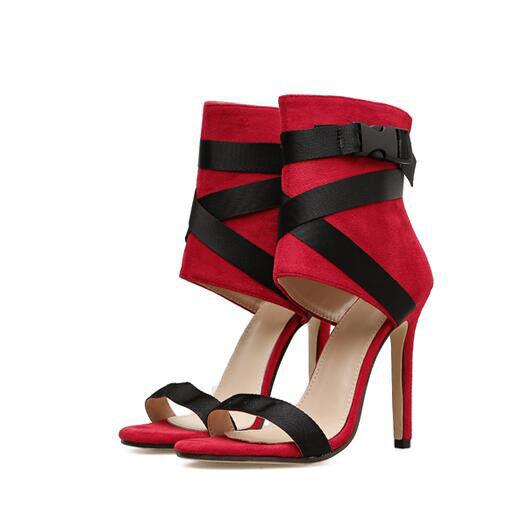Sandale stiletto eleganti tacco 12 cm rosso nero  simil pelle eleganti 1029