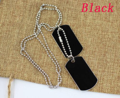 Distinct 2 Armée Tactique Style Black 2 Dog Tags Chaîne Hommes Collier Pendentif