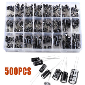 500pcs Electrolytic Capacitor Assortment Kit 0.1UF-1000UF 16V-50V 24 Value w//Box