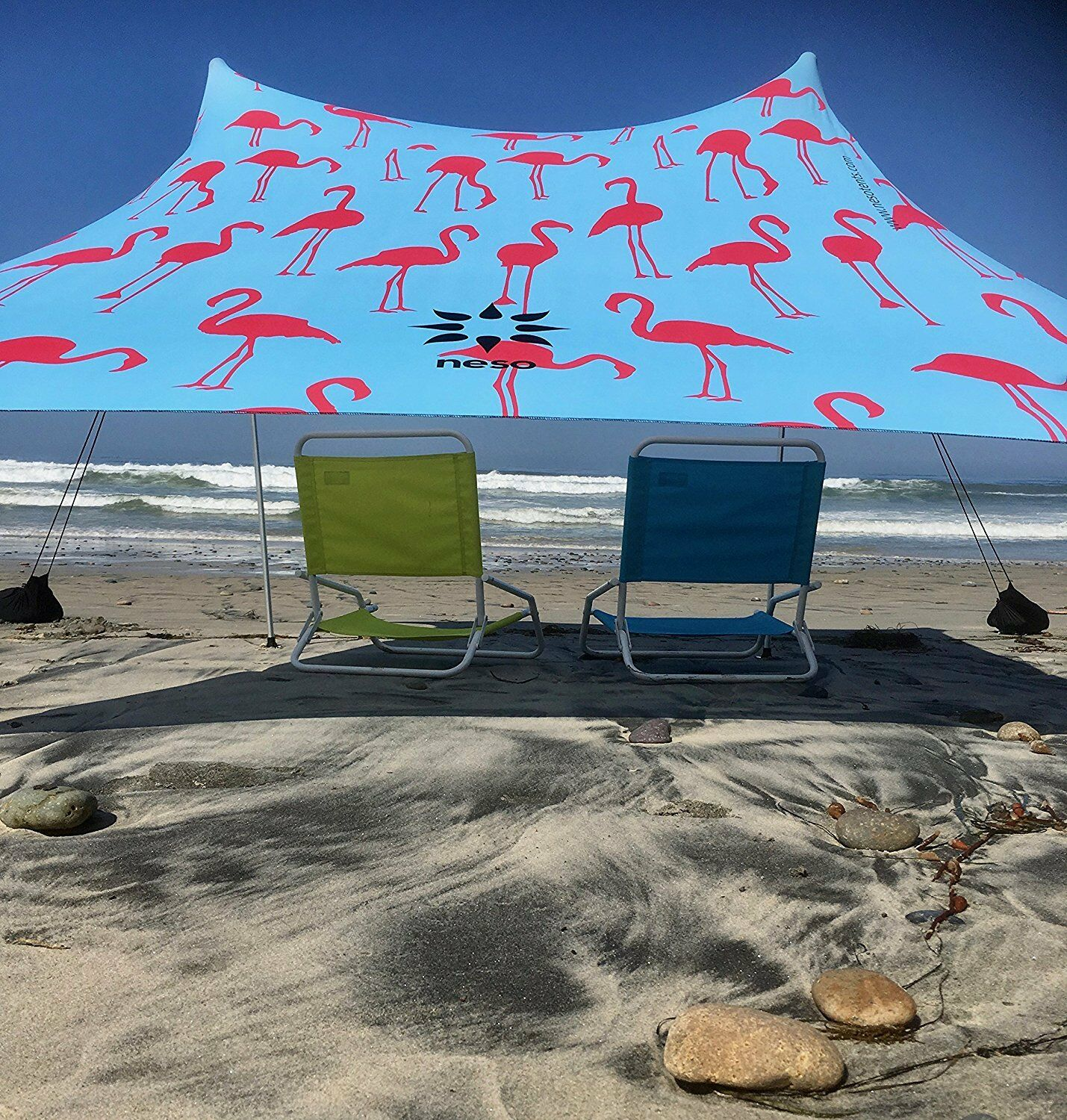 Neso Tents Beach  Tent with Sand Anchor, Portable Canopy Sun Shelter (Flamingos)  world famous sale online