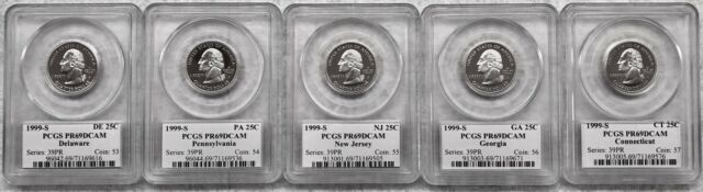 1999 - S PCGS WASHINGTON STATE QUARTER SET PR 69 DCAM 25C