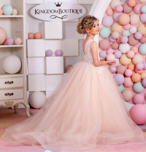 ab20ab129 Image is loading Little-Girls-Pageant-Dresses-Detachable-Train-Ball-Gown-